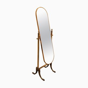 Italian Hollywood Regency Brass Floor Cheval Full Length Mirror, 1980s