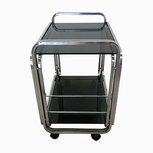 Bauhaus Art Deco Chrome Metal 2-Tier Bar Cart with Dark Glasses, Italy, 1970s
