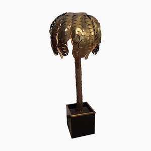 Hollywood Regency Brass Palm Tree Floor Lamp from Maison Jansen, 1970s