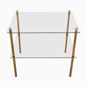 Italian Hollywood Regency Style Brass and Glass 2-Shelf Side Table, 1980s