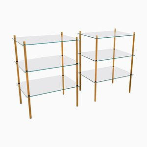Italian Hollywood Regency Style Brass and Glass 3-Shelf Side Table, 1980s