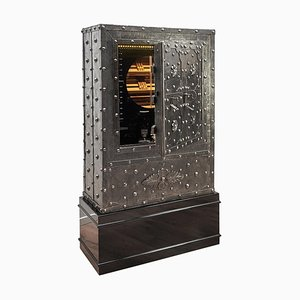 Antique Italian Wrought Iron Studded Safe Cigar Humidor Dry Bar Cabinet, 1825