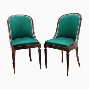Italienische Vintage Holzstühle mit Geschwungener Rückenlehne, 2er Set