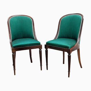 Vintage Italian Wood & Upholstered Chairs with Curved Back, Set of 2