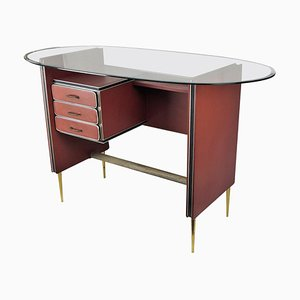 Mid-Century Italian Tan Parchment Leather and Brass Writing Desk, 1960s