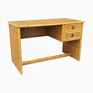 Italian Bamboo, Rattan & Brass Writing Desk from Dal Vera, 1960s
