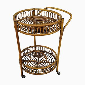 Italian Bamboo Rattan Round Serving Bar Cart, 1960s