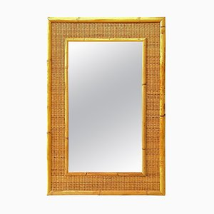Italian Bamboo and Rattan Mirror from Dal Vera, 1970s