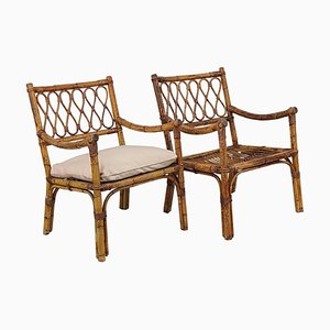Italian Bamboo and Rattan Armchairs, 1960s, Set of 2