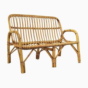 Italian Bamboo and Rattan Lounge Chair, 1960s