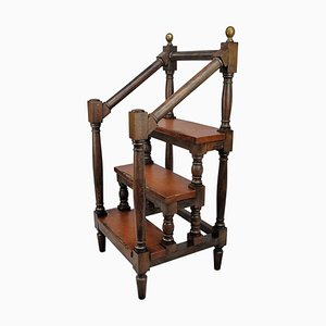 19th Century Italian Wood and Leather Step Library Ladder