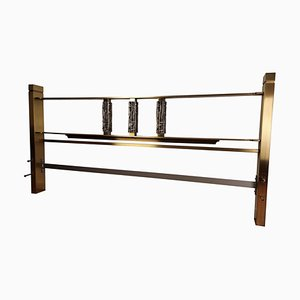 Italian Brutalist Sculpture Bronze & Brass Bed Headboard by Luciano Frigerio for Frigerio Di Desio, 1960s