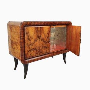 Italian Art Deco Burl Walnut and Mirror Dry Bar Cabinet, 1940s