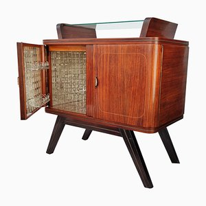 Italian Art Deco Burl Walnut, Brass & Mirror Dry Bar Cabinet, 1940s
