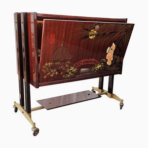 Mid-Century Italian Wood, Brass & Mirror Dry Bar Cabinet, 1950s