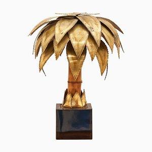 Messing Palmen Tischlampe von Christian Techoueyres für Maison Jansen, 1970er