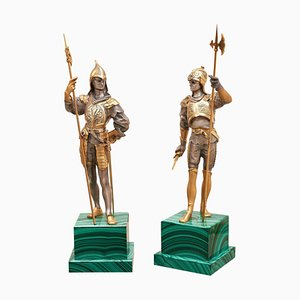 Silvered and Gold Bronze Medieval Soldier Statues on Malachite Base, Set of 2