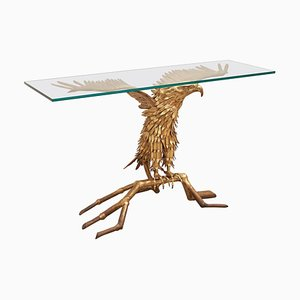 Eagle Brass Sculpture Console Table by Christian Techoueyres for Maison Jansen, 1980s