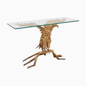 Table Console Sculpture Eagle en Laiton par Christian Techoueyres pour Maison Jansen, 1980s