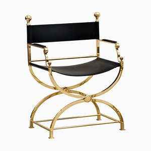 Italian Hollywood Regency Brass and Leather Savonarola Director's Chair, 1980s