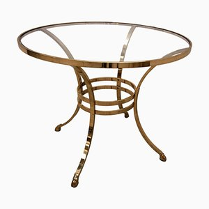 Italian Hollywood Regency Brass and Glass Round Coffee Table, 1970s