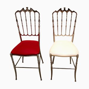 Italian Metal Silver Chiavari Chairs, 1970s, Set of 2