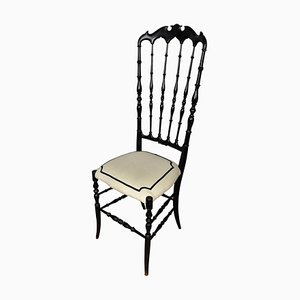 Italian Black Carved Wood Chiavari Chair with Modern Upholstery, 1970s
