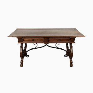 18th Century Baroque Solid Walnut Lyre-Leg Trestle Refectory Desk Writing Table