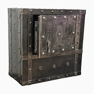 Antique Italian Wrought Iron Hobnail Safe Strongbox Bar Cabinet