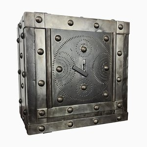 Late-18th Century Italian Wrought Iron Hobnail Studded Safe Strongbox