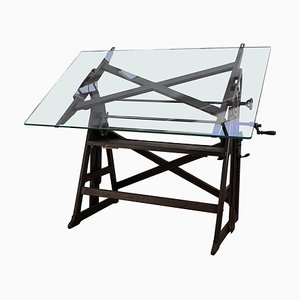 Vintage Italian Wood and Iron Adjustable Architect Drafting Table, 1930s