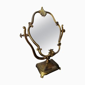 Italian Carved Bronze Cheval Dressing Table Top Mirror, 1950s