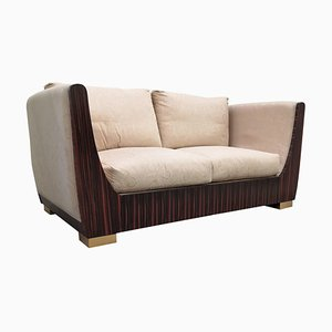 Italian Art Deco Style Macassar Ebony and Brass Sofa, 1980s