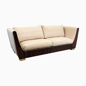 Italian Art Deco Style Macassar Ebony and Brass 3-Seat Sofa, 1980s