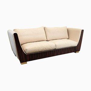 Italienisches 3-Sitzer Sofa aus Makassar-Ebenholz und Messing im Art Deco Stil, 1980er