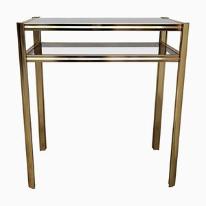 Hollywood Regency Brass and Smoked Glass Console Table, 1980s