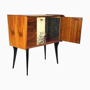 Mid-Century Italian Walnut, Burl & Mirror Dry Bar Cabinet, 1950s