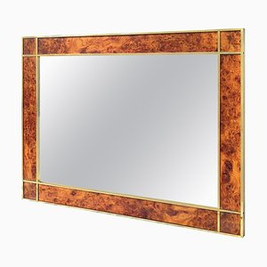 Mid-Century Modern Italian Burl and Brass Mirror, 1950s