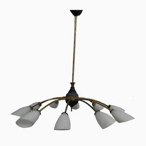 Lámpara de techo italiana de metal y latón, años 40