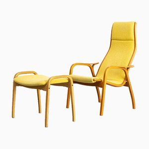 Lamino Lounge Chair & Ottoman by Yngve Ekström for Swedese, 1950s, Set of 2