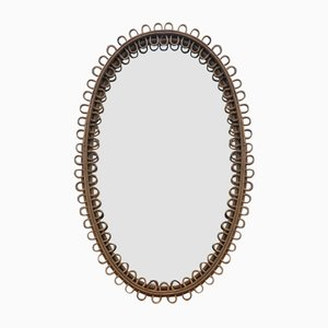 Mid-Century Oval Wicker & Bamboo Mirror