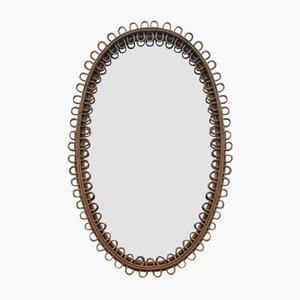 Ovaler Mid-Century Spiegel aus Korbgeflecht & Bambus