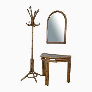 Mesa de centro italiana de bambú con espejo y colgadores, años 70. Juego de 3