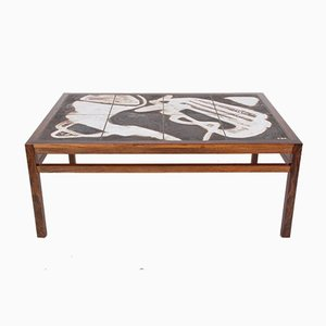 Rosewood Coffee Table with Hand-Decorated Ceramic by Ole Bjørn Krüger, 1970s
