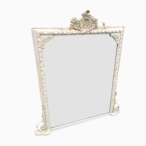 Antique French Cream Painted Overmantle Mirror