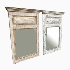 Antique French Carved Wood & Distressed Painted Mirrors, Set of 2