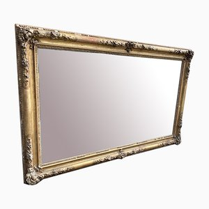 Large Antique French Louis Philippe Carved Wood & Gesso Gilt Ornate Frame Mirror