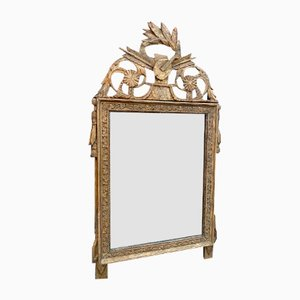 Antique Italian Carved Wood & Gesso Gilt Mirror