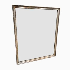 Antique French Carved Wood & Gesso Silvered Bistro Mirror