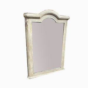 Antique French Carved Wood & Gesso Shaped Top Painted Mirror